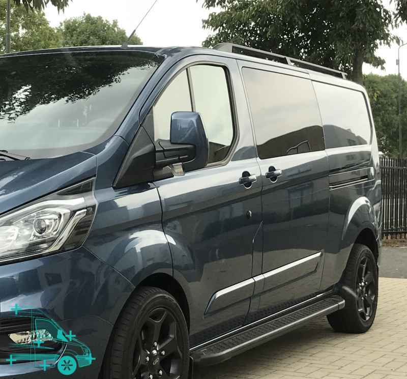 roofrails zwart aluminium ford transit custom 2012 bestelauto accessoires. Black Bedroom Furniture Sets. Home Design Ideas