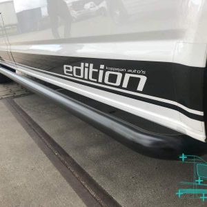 Sidebars zwart rvs vw transporter close up T5 L2